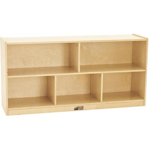 "ECR4KIDS Birch 24""H Storage Cabinet - 5 Compartments - 5 Compartment(s) - 24"" Height x 48"" Width x 13"" Depth - Natural - Birch - 1 Each"