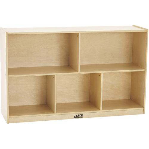 "ECR4KIDS Birch 30""H Storage Cabinet - 5 Compartments - 5 Compartment(s) - 30"" Height x 48"" Width x 13"" Depth - Natural - Birch - 1 Each"