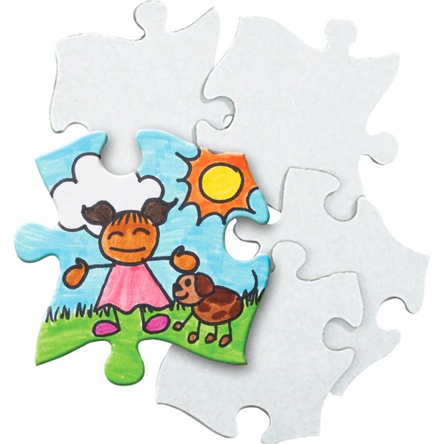 """Roylco Blank Cardboard Puzzle Pieces - Crayon, Marker, Paint, Collage - Recommended For 4 Year - 32 Piece(s) - 3.94"""" (100 mm)Height x 3.94"""" (100 mm)Width - 32 / Pack - White"""