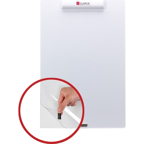 "Justick White Frameless Mini Dry-Erase Board - 24"" (2 ft) Width x 16"" (1.3 ft) Height - White Surface with Clear Overlay"