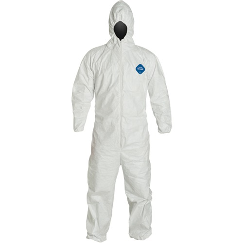 Tyvek Protective Coverall - Recommended for: Industrial, Warehouse, Food Processing, Asbestos Abatement, Maintenance, Painting, Agriculture, Remediation, Lead Abatement - Large Size - Tyvek - White