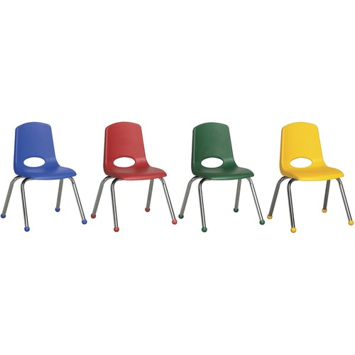 "ECR4KIDS 10"" Stack Chair with Matching Legs, 6 Piece - AS - Plastic Seat - Plastic Back - Steel Frame - Four-legged Base - Blue, Red, Yellow, Green -"