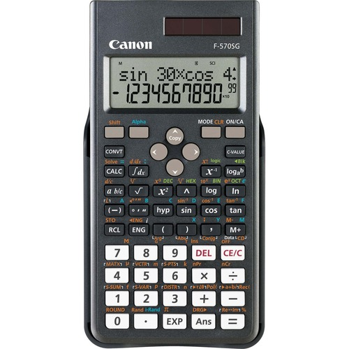 """Canon F-570SG Scientific Calculator - 488 Functions - Dual Power - 2 Digits - LCD - Battery/Solar Powered - 0.6"""" x 3.1"""" x 6.5"""" - Black - 1 Each"""