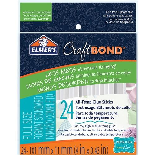 Elmer's CraftBond Less Mess 4in. All-Temp Glue Sticks 24ct. - 24 / Pack - Clear
