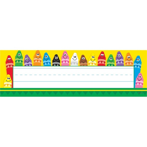 """Trend Colorful Crayons Desk Toppers Name Plates - 9 1/2"""" Width x 2 7/8"""" Length - Rectangle - 36 Total Label(s) - 36 / Pack"""