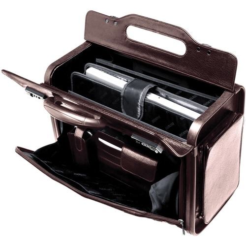 """MANCINI Travel/Luggage Case for 17"""" Notebook - Burgundy - Genuine Leather - Handle - 13"""" (330.20 mm) Height x 17"""" (431.80 mm) Width x 8.50"""" (215.90 mm) Depth"""