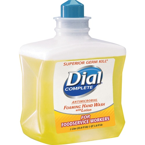 Dial Dispenser Refill Antimicrobial Foam Hand Wash - 33.8 fl oz (1000 mL) - Kill Germs - Hand - Yellow - 4 / Carton