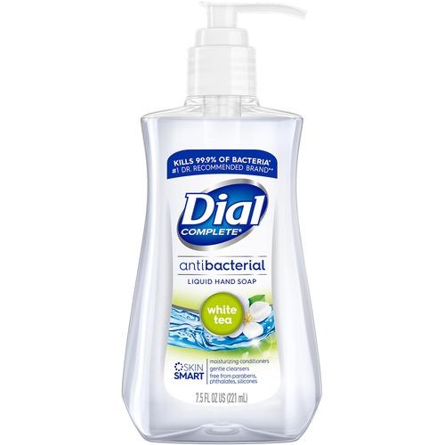 Dial White Tea Antibacterial Hand Soap - 7.5 fl oz (221.8 mL) - Pump Bottle Dispenser - Kill Germs - Hand, Skin - Clear - 1 Each