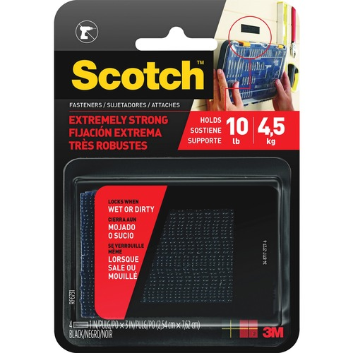 """Scotch Extremely Strong Fasteners - 3"""" (76.2 mm) Length x 1"""" (25.4 mm) Width - 1 / Pack - Black"""
