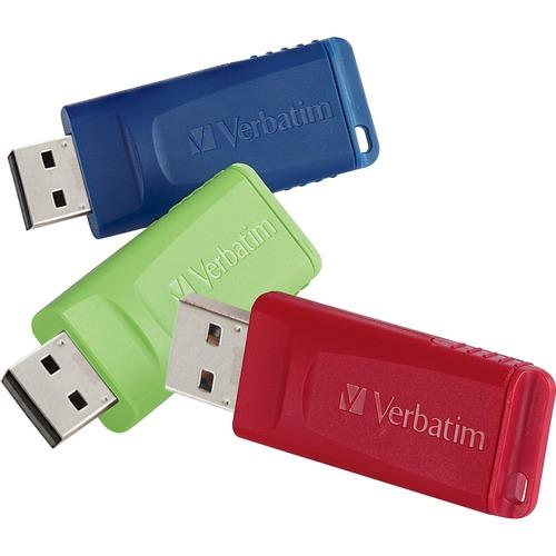 Verbatim 16GB Store 'n' Go USB Flash Drive - 3pk - Red, Green, Blue - 16 GB - USB - Blue, Green, Red - Lifetime Warranty