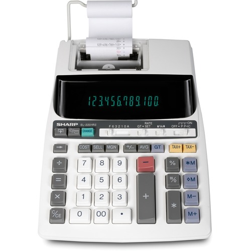 """Sharp EL2201RII 2-colour Printing Calculator - Dual Color Print - Ink Roller - Blue - 2 lps - Two-color Printing, Adjustable Display, Dual Power - 12 Digits - Fluorescent - AC Supply/Battery Powered - Battery Included - 1 - CR2032 - 3.3"""" x 12.7"""" x 8.3"""" -"""