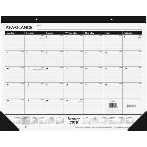 At A Glance Desk Calendar 1ppm 12mths Jan Dec 21 3 4 X17 Bk We