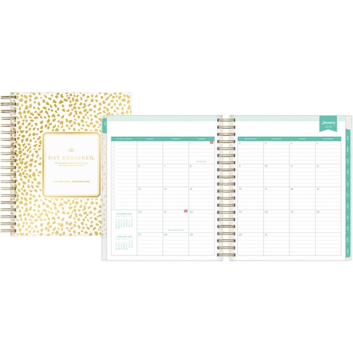 blue sky gold spot day designer planner julian monthly 1 year
