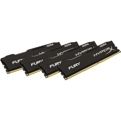 Kingston HyperX Fury RAM Module - 64 GB 4 x 16 GB - DDR4 SDRAM - 2666 MHz DDR4-2666/PC4-21300 - 1.20 V - Non-ECC - Unbuffered - CL16 - 288-pin - DIMM