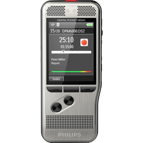 """Philips Pocket Memo Voice Recorder (DPM6000/01) - SD, SDHC Supported - 2.4"""" LCD - MP3, DSS, WAV - Headphone - 700 HourspeaceRecording Time - Portable"""
