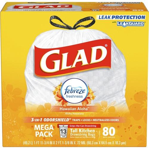 Glad OdorShield Tall Kitchen Drawstring Trash Bags - 13 gal - 0 78 mil (20  Micron) Thickness - White - 80/Box - 80 Per Box - Kitchen, Garbage