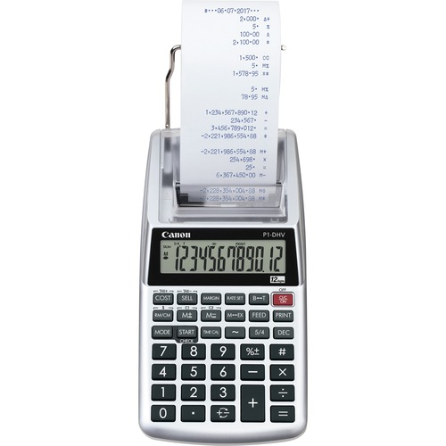 """Canon P1DHV3 Compact Printing Calculator - Sign Change, Built-in Memory, Item Count, Clock, Calendar - 12 Digits - 1.6"""" x 3.9"""" x 7.7"""" - Sliver - 1 Each"""