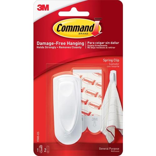 Command Spring Clip - 8 oz (226.8 g) Capacity - Plastic - White - 1 Pack