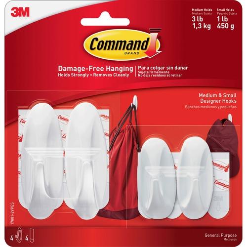 Command Small/Medium Designer Hook Value Pack - 3 lb (1.36 kg) Capacity - White - 4 / Pack