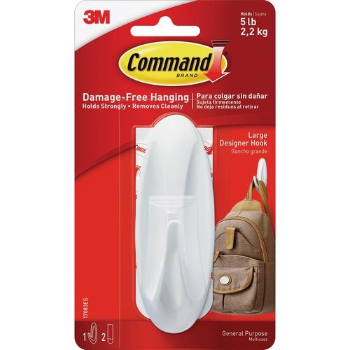 Command Large Designer Hook - 5 lb (2.27 kg) Capacity - Plastic - White - 1 Pack