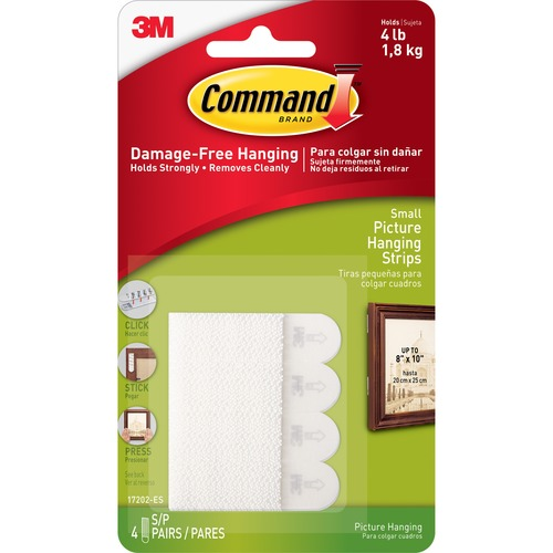 Command Small Picture Hanging Strips - 1 lb (453.6 g) Capacity - Yellow - 4 / Pack