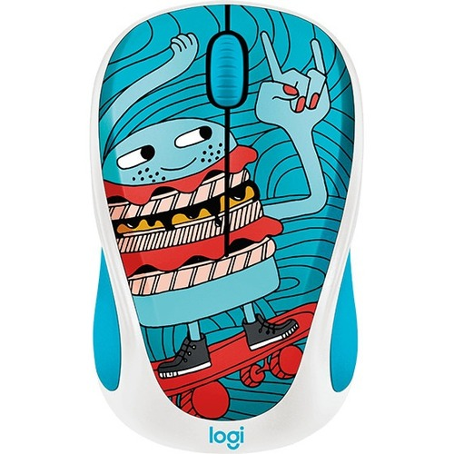 Logitech DOODLE COLLECTION M238 Mouse - Optical - Wireless - 3 Buttons - Skateburger