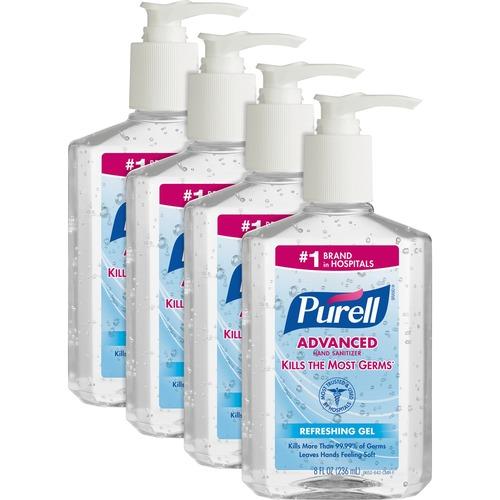 PURELL® Sanitizing Gel - 8 fl oz (236.6 mL) - Pump Bottle Dispenser - Kill Germs - Hand - Clear - 4 / Bundle