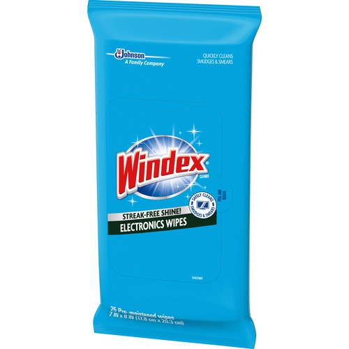 Windex® Electronics Wipes - For Electronic Equipment - Residue-free - 25 / Pack - 12 / Carton - Blue