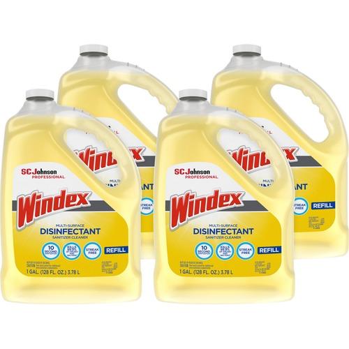 Windex® Multi-Surface Disinfectant Sanitizer Cleaner - Liquid - 128 fl oz (4 quart) - Bottle - 4 / Carton - Yellow
