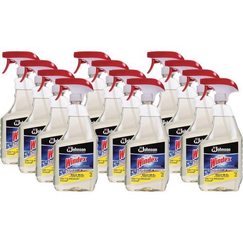 Windex® Multisurface Disinfectant Spray - Ready-To-Use Spray - 32 fl oz (1 quart) - Bottle - 12 / Carton - Gold
