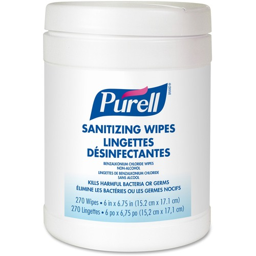 PURELL Sanitizing Hand Wipes - White, Blue - Alcohol-free, Residue-free, Durable, Lint-free, Pre-moistened - For Hand - 270 Per Tub - 1 Each