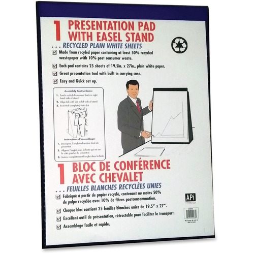 """NCR Paper Plain Sheet Presentation Pad Easel Stand - 25 Sheets - Plain - Unruled - 19 1/2"""" x 27"""" - White Paper - Easy Tear, Built-in Stand - 1Each"""