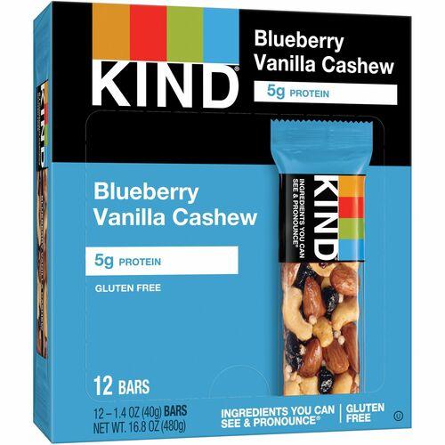 KIND Blueberry Vanilla & Cashew - Trans Fat Free, High-fiber, Low Sodium,  Dairy-free, Gluten-free, Peanut-free - Vanilla Blueberry, Cashew - 1 41 oz -