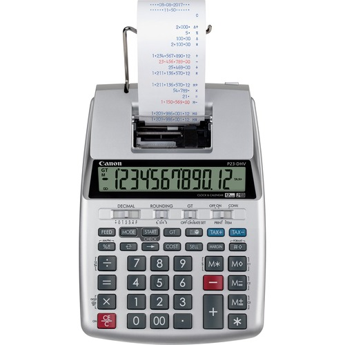 """Canon P23-DHV-3 12-digit Printing Calculator - Clock, Calendar, Decimal Point Selector Switch, Sign Change - 2.2"""" x 6.4"""" x 9.1"""" - Silver - 1 Each"""