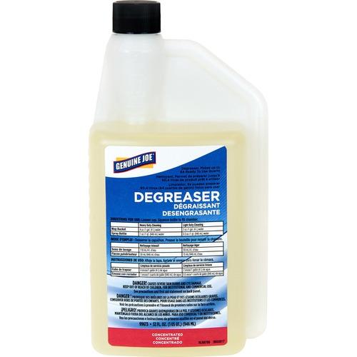 Genuine Joe Degreaser - Concentrate - 32 fl oz (1 quart) - 1 Each - Amber