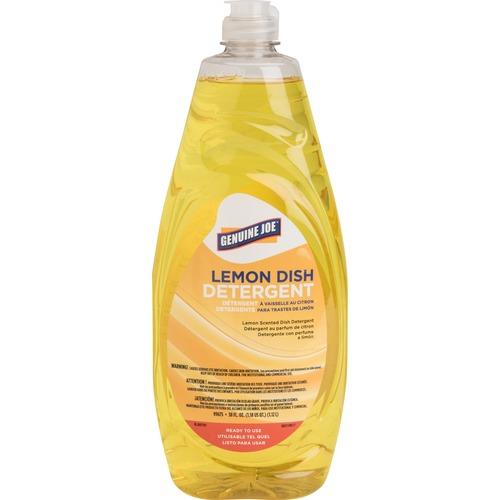 Genuine Joe Pot and Pan Detergent - Concentrate Liquid - 38 fl oz (1.2 quart) - Lemon Scent - 1 Each - Yellow