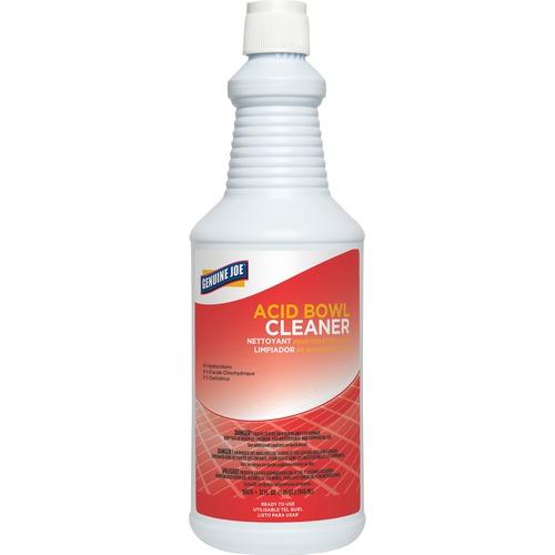Genuine Joe Acid Bowl Cleaner - Ready-To-Use Liquid - 32 fl oz (1 quart) - 1 Each - Aqua Marine