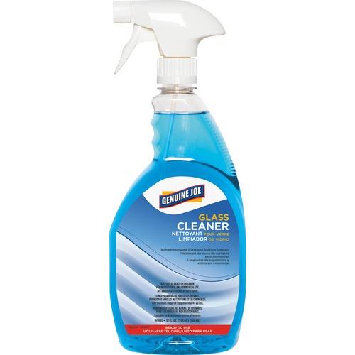Genuine Joe Non-Ammoniated Glass Cleaner - Ready-To-Use Spray - 32 fl oz (1 quart) - 1 Each - Blue