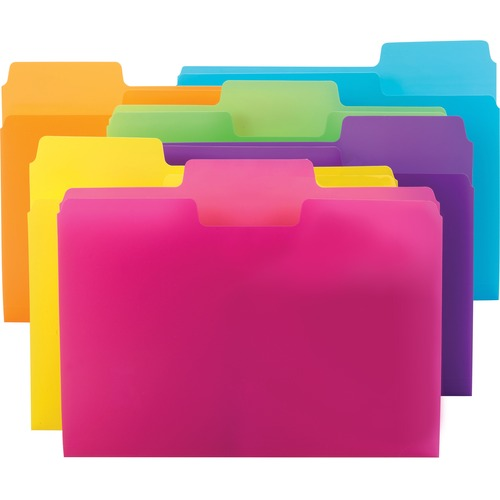"""Smead SuperTab Poly File Folders - Letter - 8 1/2"""" x 11"""" Sheet Size - 1/3 Tab Cut - Top Tab Location - Assorted Position Tab Position - Polypropylene"""