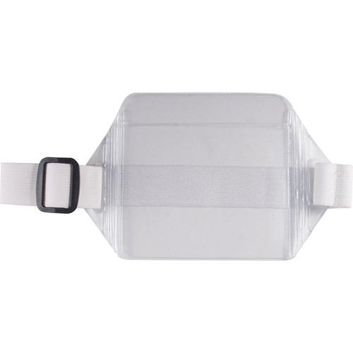 "Advantus Arm Badge Holder - Support 3.50"" (88.90 mm) x 2.50"" (63.50 mm) Media - Horizontal - Vinyl - 12 / Box - White, Clear"
