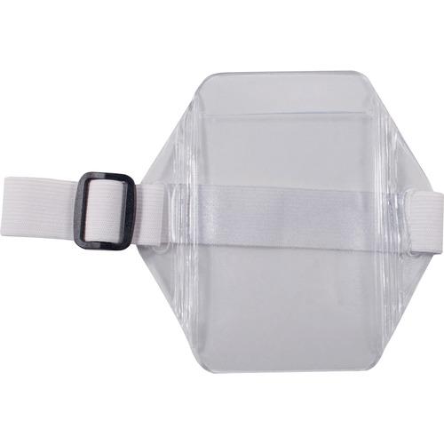 "Advantus Arm Badge Holder - Support 2.50"" (63.50 mm) x 3.50"" (88.90 mm) Media - Vertical - Vinyl, Elastic - 12 / Box - White, Clear"