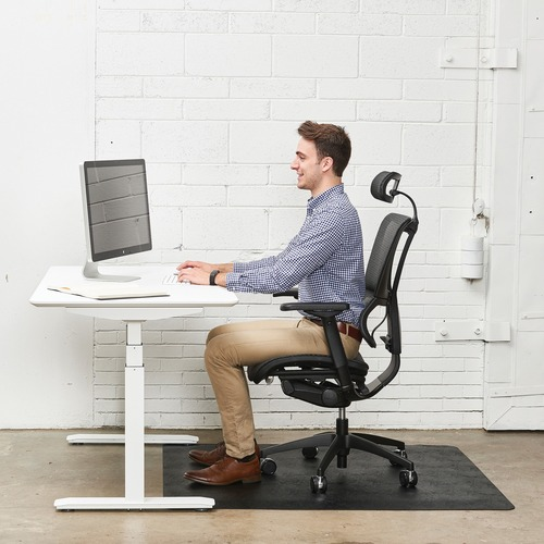 "Deflecto Ergonomic Sit-Stand Chairmat - Workstation - 60"" Length x 46"" Width x 0.80"" Depth - Rectangle - Foam - Black"