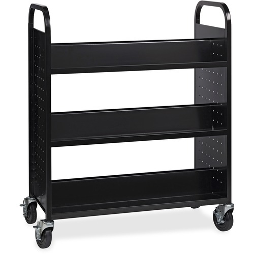 """Lorell Double-sided Book Cart - 6 Shelf - Round Handle - 5"""" (127 mm) Caster Size - Steel - x 38"""" Width x 18"""" Depth x 46.3"""" Height - Black - 1 Each"""