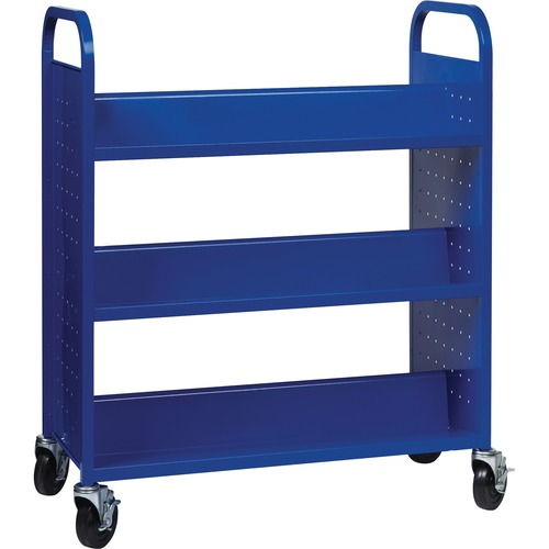 """Lorell Double-sided Book Cart - 6 Shelf - Round Handle - 5"""" (127 mm) Caster Size - Steel - x 38"""" Width x 18"""" Depth x 46.3"""" Height - Blue - 1 Each"""
