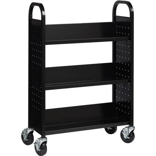 "Lorell Single-sided Steel Book Cart - 3 Shelf - Round Handle - 5"" (127 mm) Caster Size - Steel - x 32"" Width x 14"" Depth x 46"" Height - Black - 1 Each"