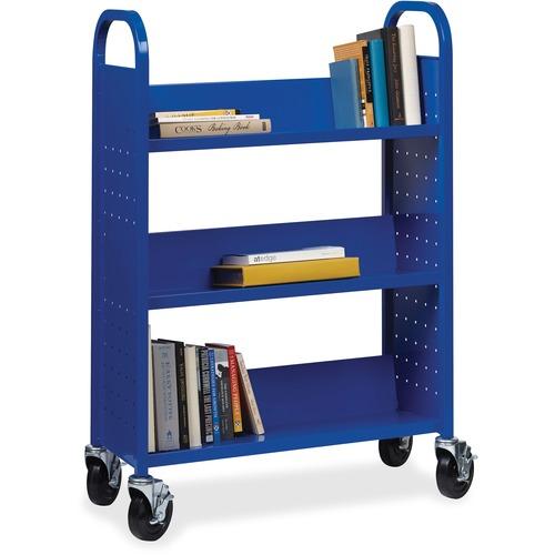 "Lorell Single-sided Steel Book Cart - 3 Shelf - Round Handle - 5"" (127 mm) Caster Size - Steel - x 32"" Width x 14"" Depth x 46"" Height - Blue - 1 Each"
