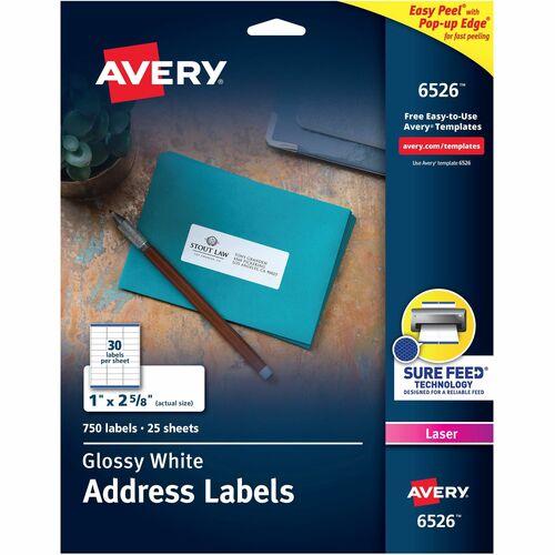 avery easy peel high gloss white mailing labels laser inkjet
