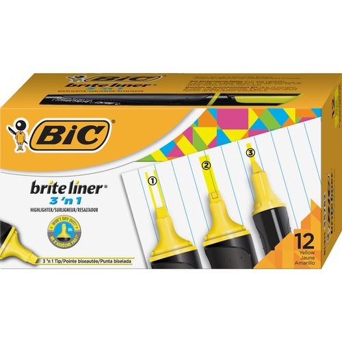 BIC Brite Liner 3'n-1 Highlighter - Yellow - 12 / Dozen