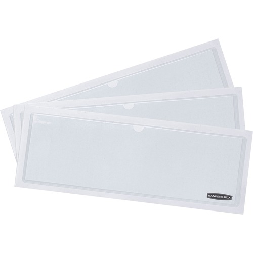 "Bankers Box Bankers Box® Label Pocket - 3.25"" (82.55 mm) x 9.25"" (234.95 mm) x 60 mil (1.52 mm) x - Polyvinyl Chloride (PVC) - 48 / Pack - White"
