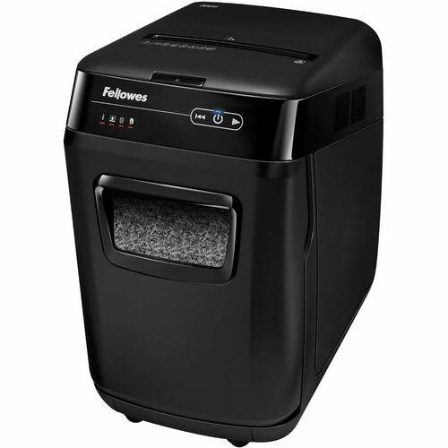 "Fellowes AutoMax™ 200M Auto Feed Shredder - Non-continuous Shredder - Micro Cut - 200 Per Pass - for shredding Staples, Credit Card, Paper - 0.1"" x 0.5"" Shred Size - P-5 - 3.35 m/min - 9"" Throat - 12 Minute Run Time - 32.18 L Wastebin Capacity - Bla"